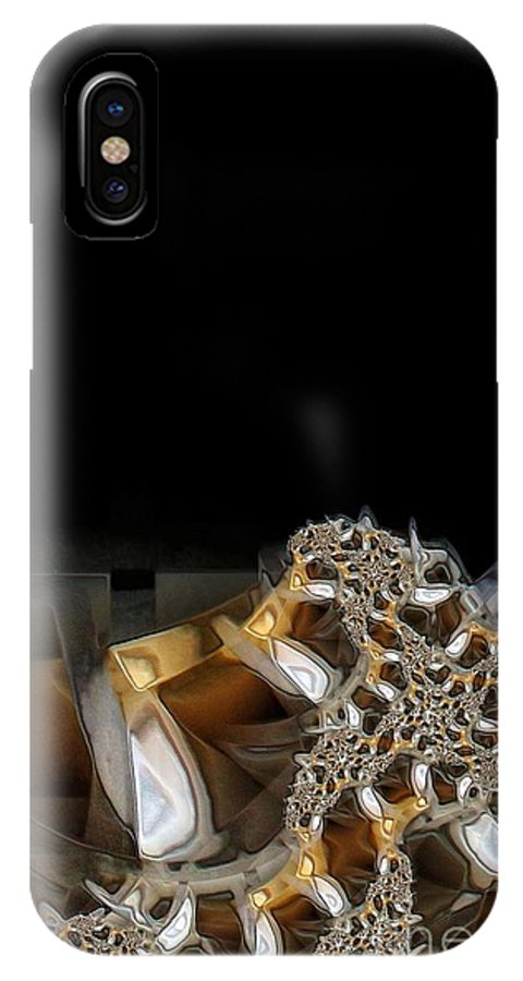 Abstract IPhone X Case featuring the digital art In The Dark by Ron Bissett
