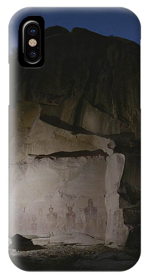 North America IPhone X / XS Case featuring the photograph Indian Pictographs Are Illuminated by Stephen Alvarez