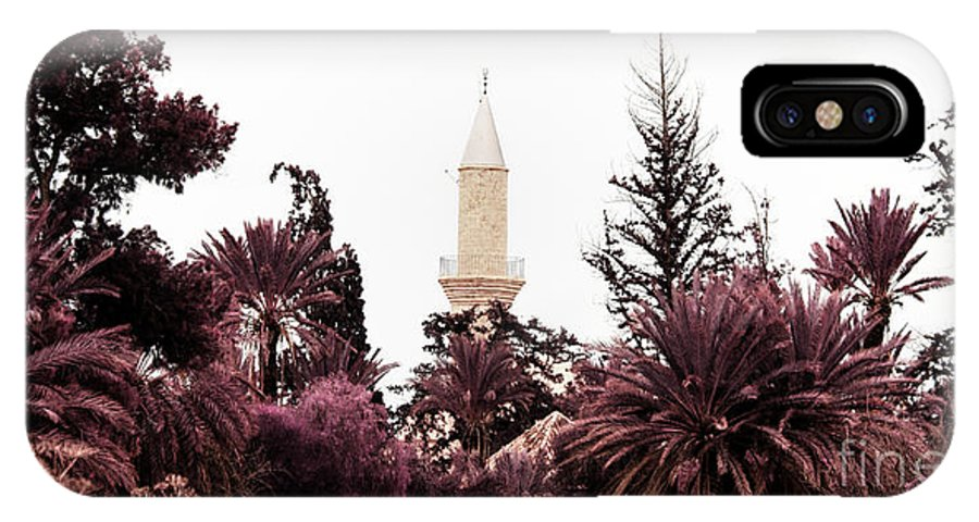 Arab IPhone X Case featuring the photograph infrared Hala Sultan Tekke by Stelios Kleanthous