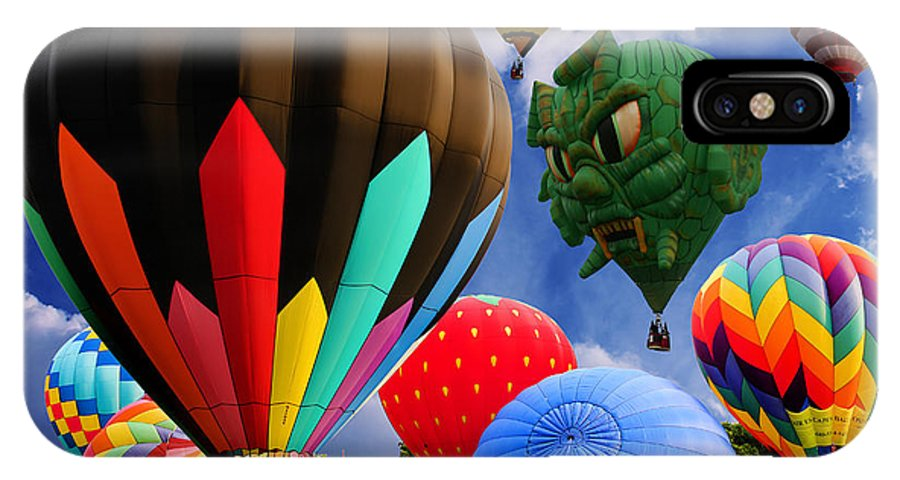 New Jersey IPhone X Case featuring the photograph Into The Great Blue Sky - Hot Air Balloon Ride - Hot Air Balloons - Warren County Fair by Lee Dos Santos
