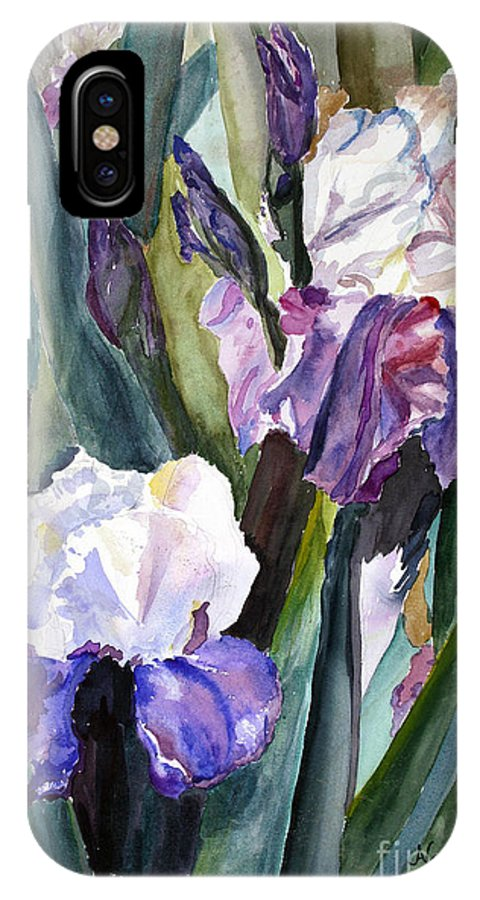 Floral IPhone X Case featuring the painting Irises by Blooming Originals A Publishing Creation of AngelArts