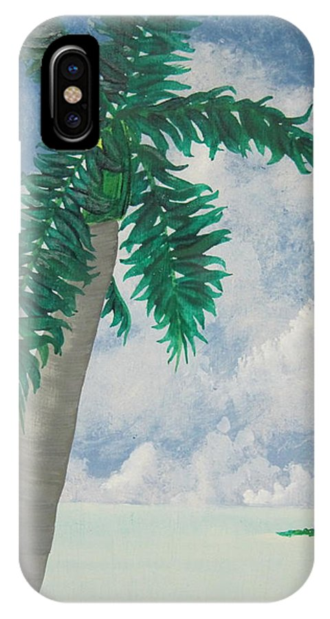 Tropical Island IPhone X Case featuring the painting Island View by Jan Prewett