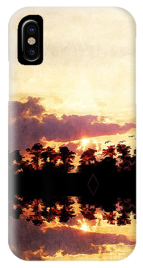 Abstract IPhone X Case featuring the photograph Islands In The Sky by Darren Fisher