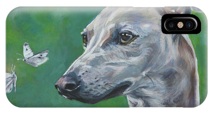 Italian Greyhound IPhone X Case featuring the painting Italian Greyhound With Cabbage White Butterflies by Lee Ann Shepard