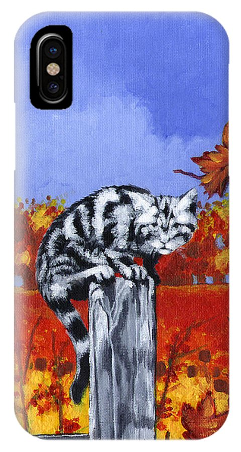 Cat IPhone X Case featuring the painting Its Cold by Stan Kwong