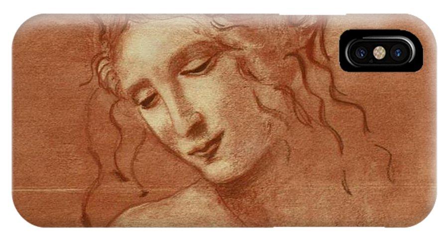 Leonardo Davinci IPhone X Case featuring the drawing Itso Leonardo by Tami Rounsaville