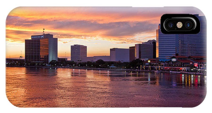 Clouds IPhone X Case featuring the photograph Jacksonville Skyline At Dusk by Debra and Dave Vanderlaan