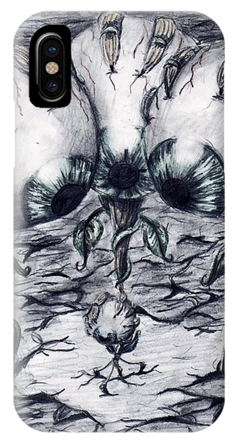 Eye IPhone X Case featuring the drawing Jealousy by Katelynn Johnston