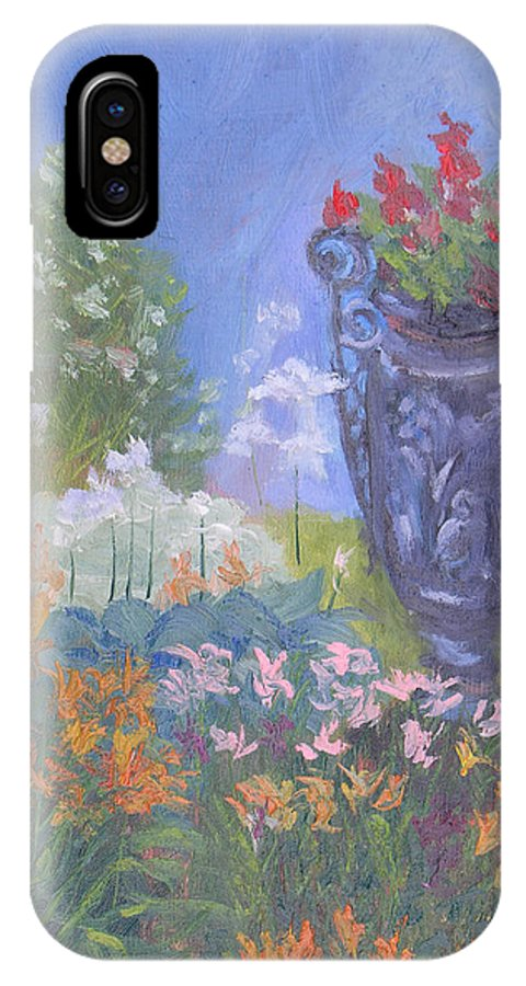 Flowers IPhone X Case featuring the painting Jefferson County Ny Historical Society Garden by Robert P Hedden