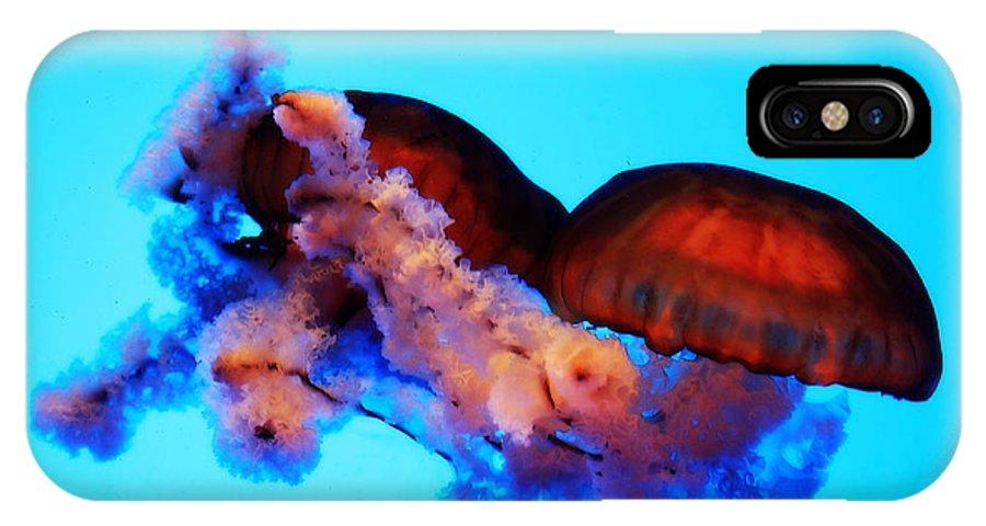 Jellyfish IPhone X Case featuring the photograph Jellyfish Drama - Digital Art by Carol Groenen