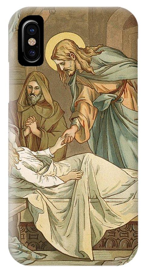 Bible; Jesus Christ; Raising; Jairus's; Jairus; Daughter; Bed; Miracle IPhone X Case featuring the painting Jesus Raising Jairus's Daughter by John Lawson