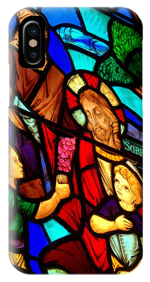 Jesus Stained Glass Window IPhone X Case featuring the photograph Jesus Stained Glass by Mark Holden