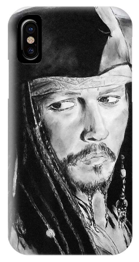 Johnny Depp IPhone X / XS Case featuring the drawing Johnny Depp As Captain Jack Sparrow In Pirates Of The Caribbean II by Jim Fitzpatrick