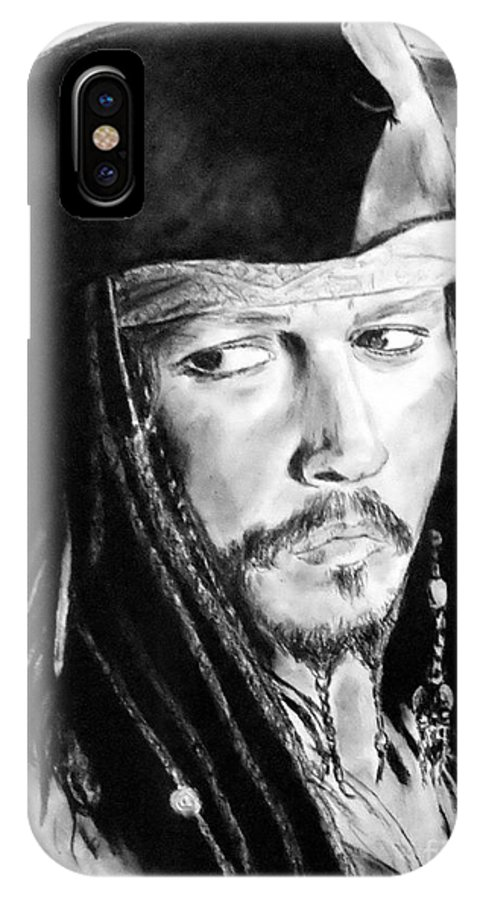 Johnny Depp IPhone X Case featuring the drawing Johnny Depp As Captain Jack Sparrow In Pirates Of The Caribbean by Jim Fitzpatrick