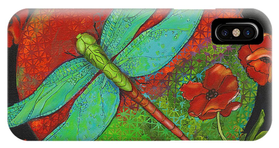 Dragonfly Art IPhone X / XS Case featuring the painting Journey At Dawn by Debbie McCulley