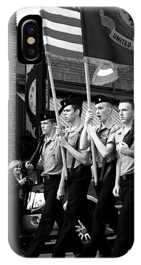 Parade IPhone X Case featuring the photograph Jrotc Carrying Flag In The Parade by Gray Artus
