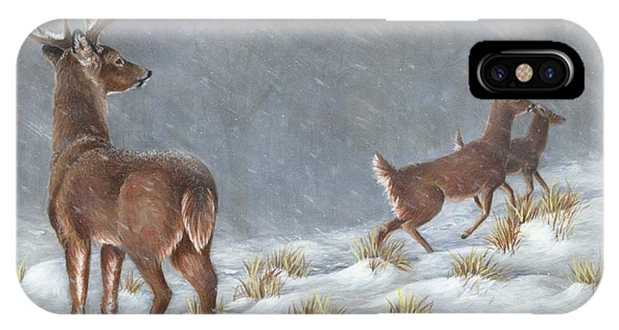 Deer IPhone X Case featuring the painting Just Watching by Sharon Molinaro