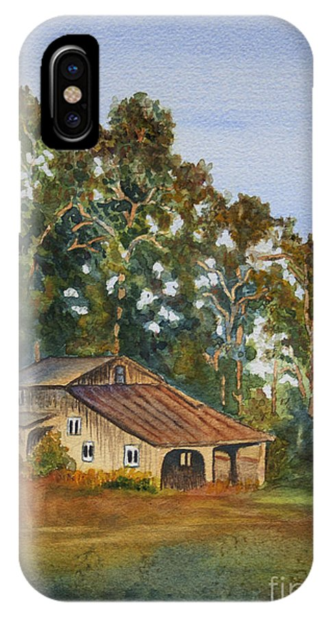 Barn IPhone X Case featuring the painting Kate's Barn by Sari Sauls