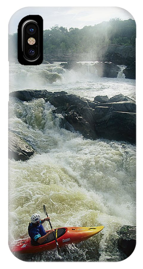 North America IPhone X / XS Case featuring the photograph Kayaker Running Maryland Side Of Great by Skip Brown