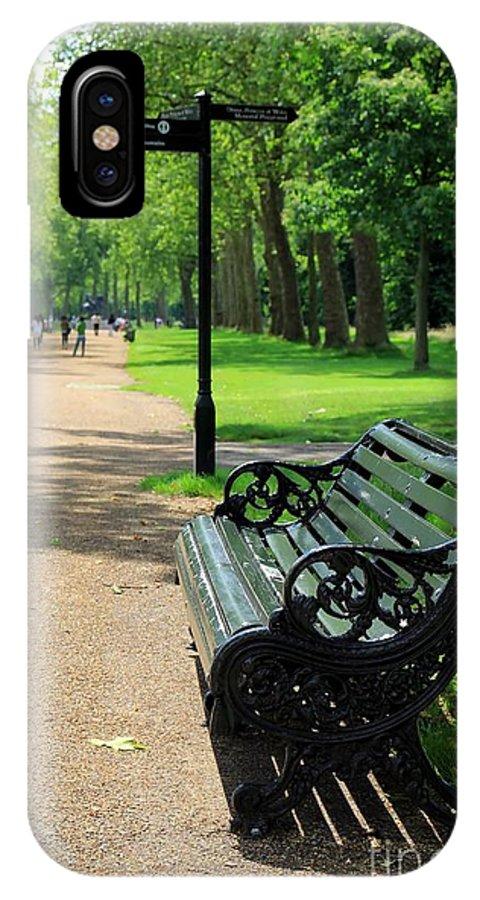 Bench IPhone X Case featuring the photograph Kensington Park Bench by Sophie Vigneault