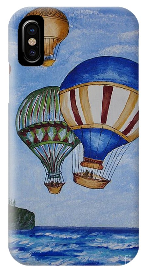 Painting IPhone X Case featuring the painting Kid's Art- Balloon Ride by Tatjana Popovska