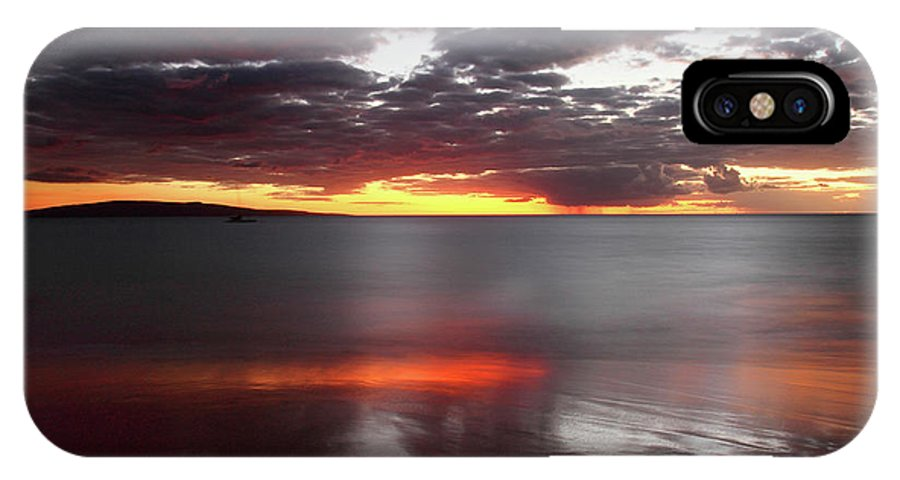 Kihei IPhone X / XS Case featuring the photograph Kihei Silvery Sunset by Pierre Leclerc Photography