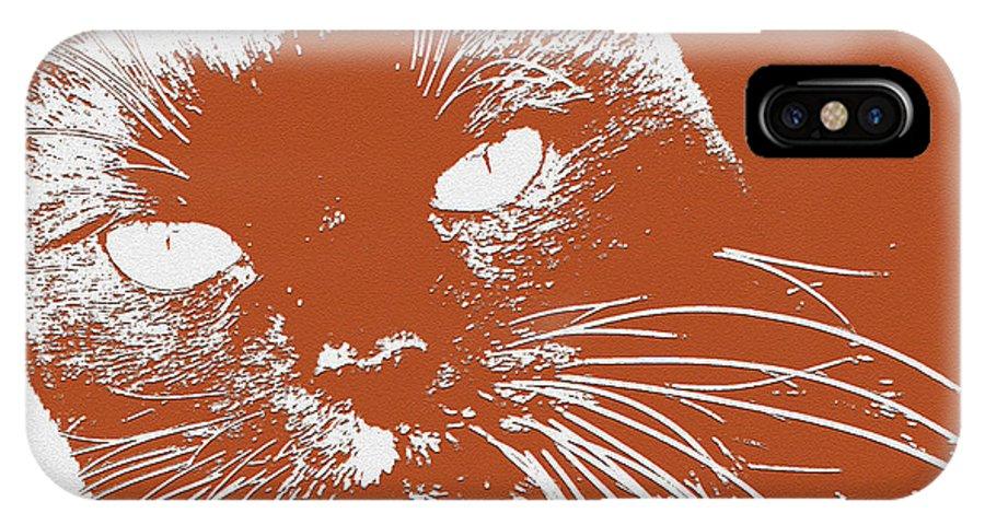 Cat IPhone X Case featuring the digital art Kit Kat by Julie Niemela