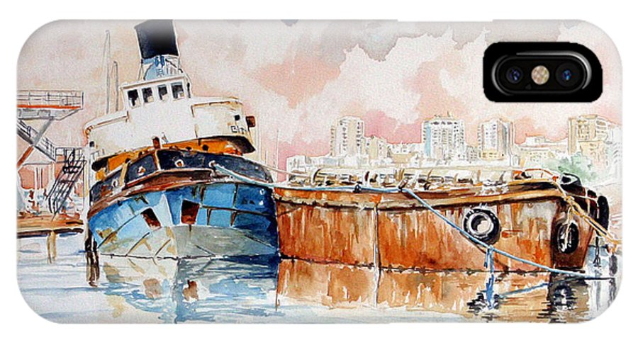 Ship IPhone X / XS Case featuring the painting La Fine Oltre Il Canale by Giovanni Marco Sassu