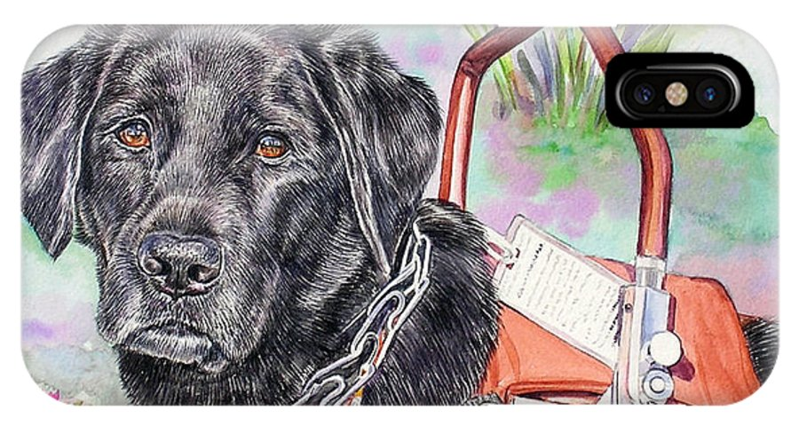 Labrador Retriever IPhone X / XS Case featuring the painting Labrador Retriever Service Dog by Gail Dolphin