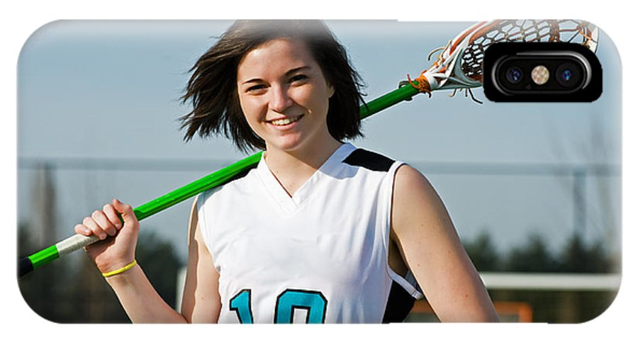 Girls IPhone X Case featuring the photograph Lacrosse Girl by Jim Boardman