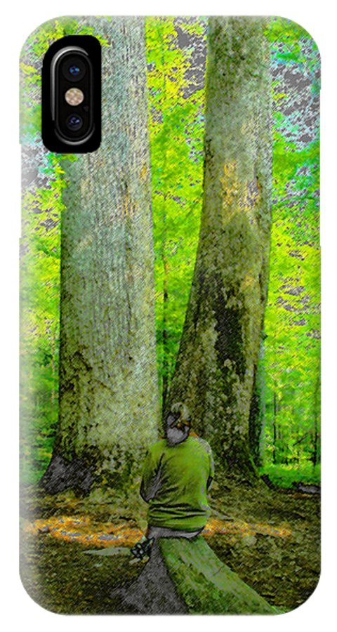 Art IPhone X / XS Case featuring the painting Lady In The Woods by David Lee Thompson