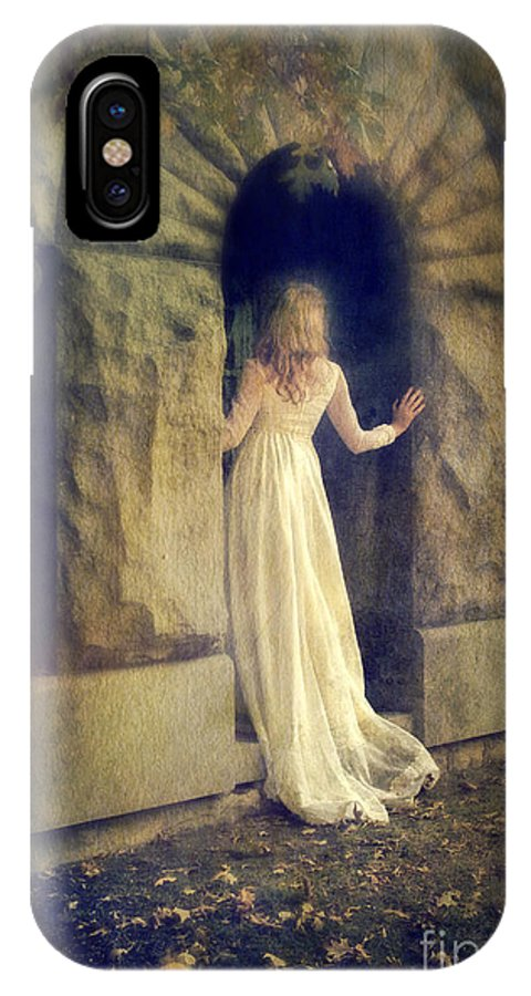 Lady In Doorway IPhone X Case featuring the photograph Lady In White Gown In Doorway by Jill Battaglia
