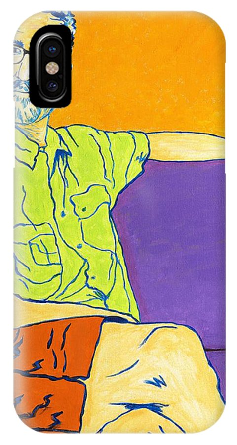 Portrait IPhone X Case featuring the painting Laid Back Bill by Peggy Quinn