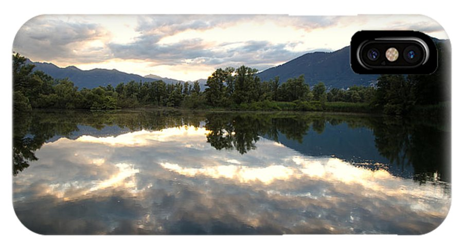 Lake IPhone X Case featuring the photograph Lake With Clouds by Mats Silvan