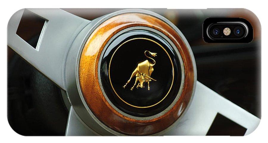 Lamborghini IPhone X Case featuring the photograph Lamborghini Steering Wheel Emblem by Jill Reger