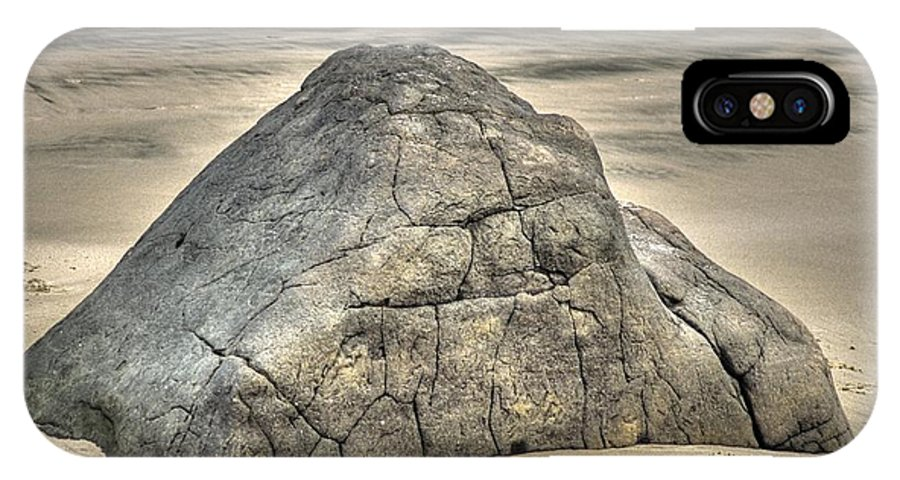 Beach IPhone X Case featuring the photograph Large Rock On The Beach by One Rude Dawg Orcutt