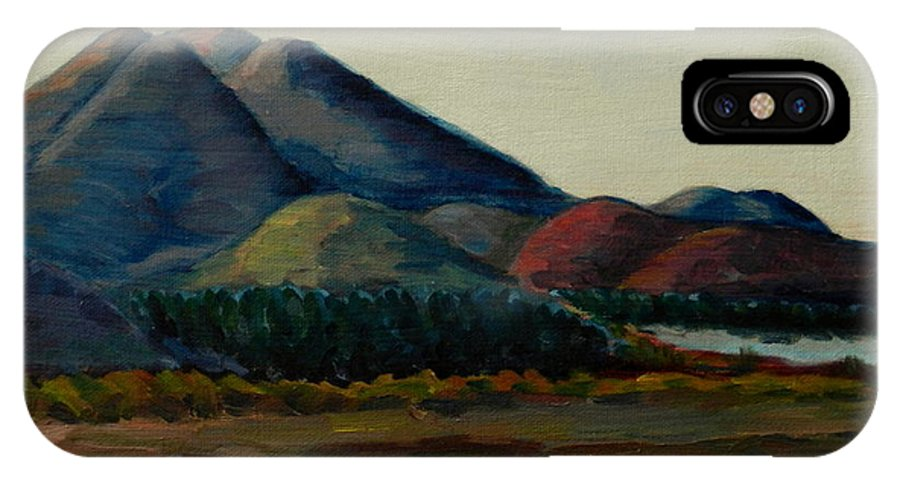 Landscape IPhone X Case featuring the painting Late Afternoon, Peru Impression by Ningning Li
