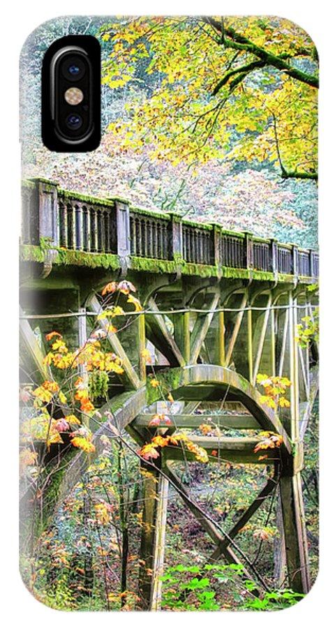 Autumn Color IPhone X Case featuring the photograph Latourel Creek Bridge by Albert Seger