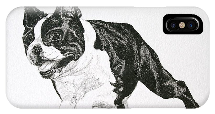 Boston Terrier IPhone X / XS Case featuring the drawing Leap by Susan Herber
