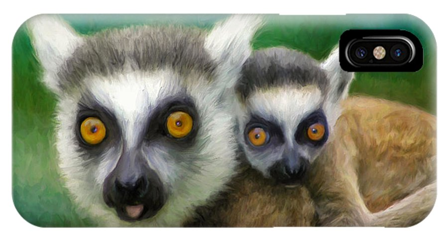 Lemurs IPhone X / XS Case featuring the painting Lemurs by Dominic Piperata