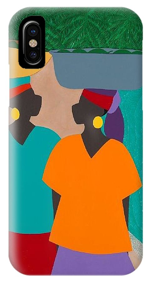 Haiti IPhone X Case featuring the painting Les Femmes by Synthia SAINT JAMES