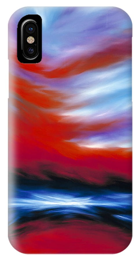 Sunrise; Sunset; Power; Glory; Cloudscape; Skyscape; Purple; Red; Blue; Stunning; Landscape; James C. Hill; James Christopher Hill; Jameshillgallery.com; Ocean; Lakes; Genesis; Creation; Sky IPhone X Case featuring the painting Let There Be Light by James Christopher Hill