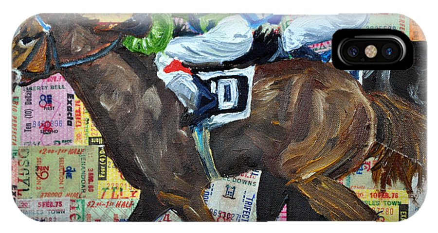 Horse Racing IPhone X Case featuring the painting Liberty Bell by Michael Lee