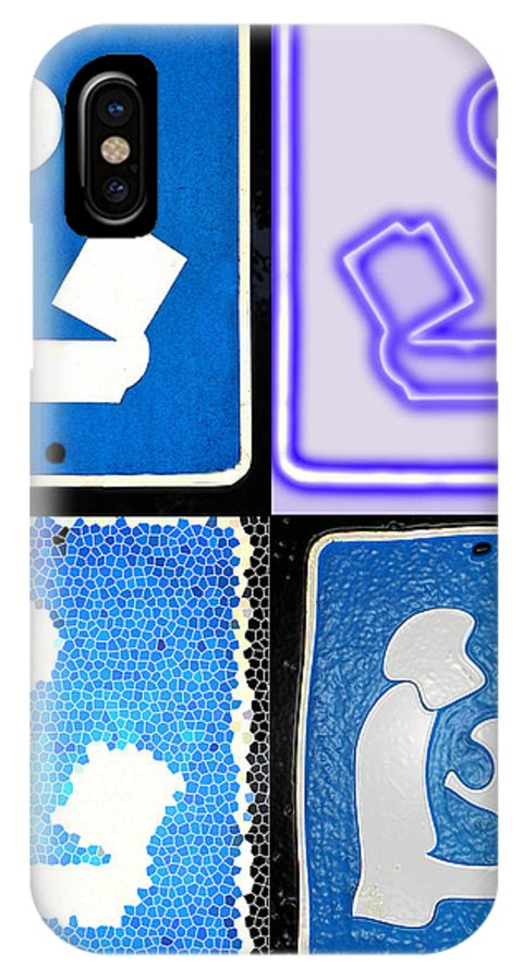 Library Sign IPhone X / XS Case featuring the photograph Library Sign Warhol by Denise Keegan Frawley