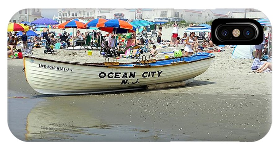Nj IPhone X Case featuring the photograph Lifeguard Boat At Ocean City Boardwalk New Jersey by Sven Migot