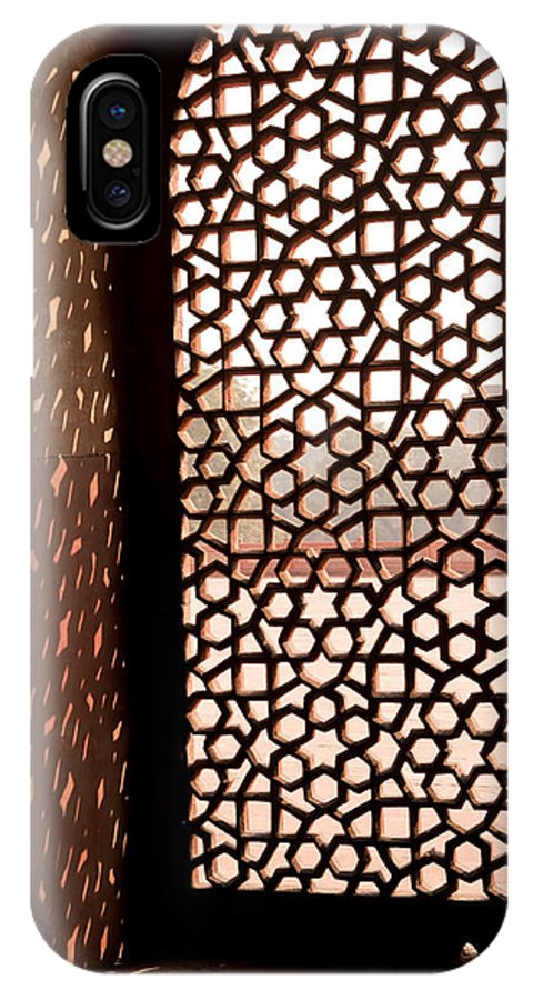 Tomb IPhone X Case featuring the photograph Light Coming Through The Stone Lattice At Humayun Tomb by Ashish Agarwal
