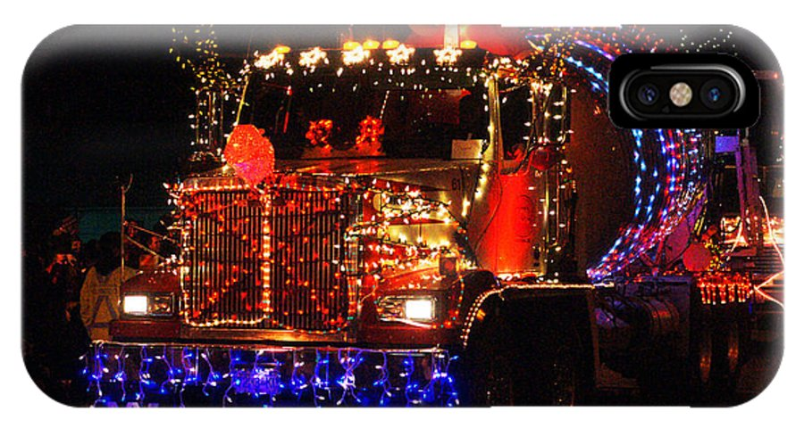 Christmas Lights IPhone X Case featuring the photograph Lighted Cement Truck by Randy Harris