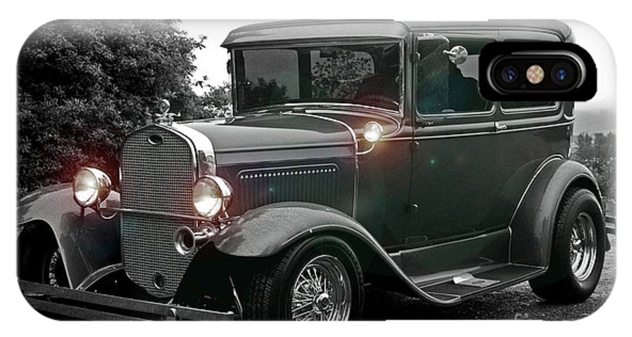 Cars IPhone X Case featuring the photograph Lighted Old Black And White by Randy Harris