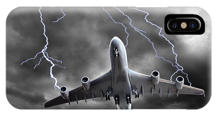 Aeroplane IPhone X Case featuring the photograph Lighting Striking An Aeroplane, Composite by Victor De Schwanberg