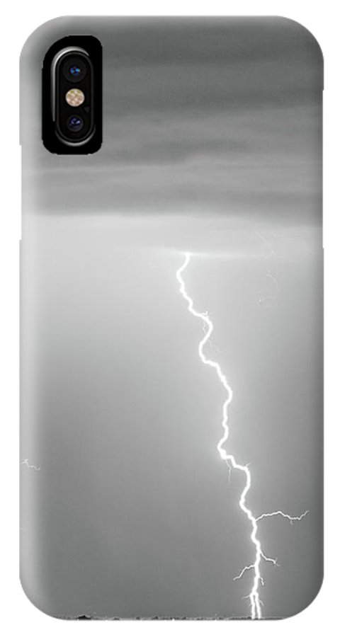 james Insogna IPhone X Case featuring the photograph Lightning Bolt With A Fork Bw by James BO Insogna